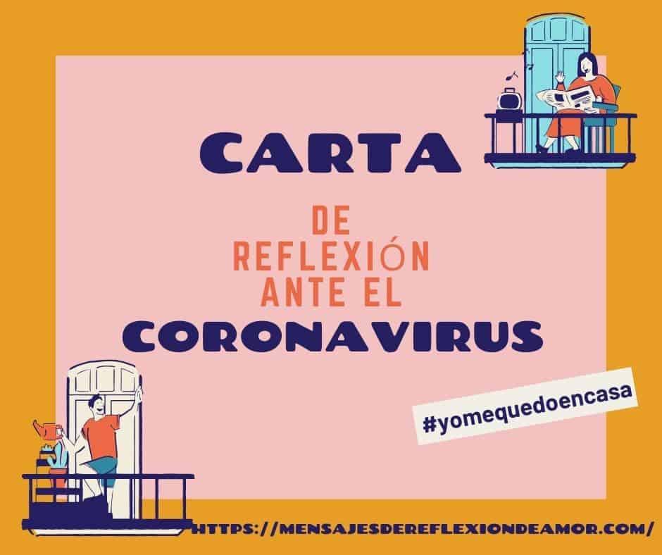 ▷ Carta de Reflexión en Epoca del Coronavirus - Aprendiendo de la Crisis